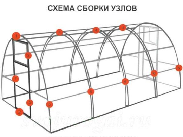 Схема сборки узлов теплицы